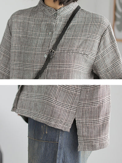 Linen Stand Collar Loose Long Sleeve Shirt