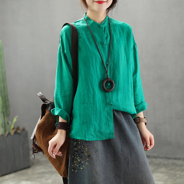 Linen Stand Collar Loose Vintage Shirt