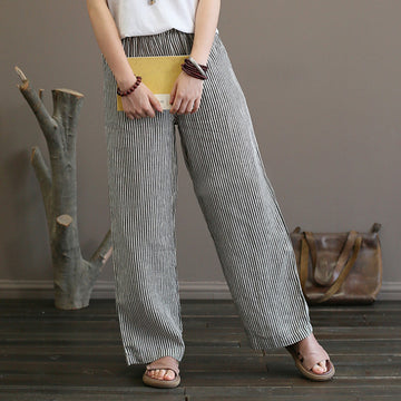 Plus Size - 100% Linen Straight Pants For Women Black Stripe