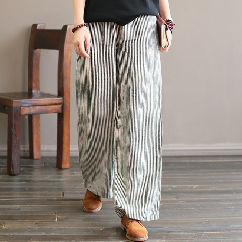 Linen Straight Pants For Women Black Stripe