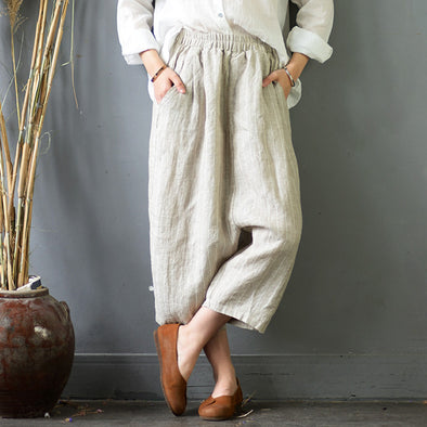 Linen Stripe Literature Elastic Waist Women Pants