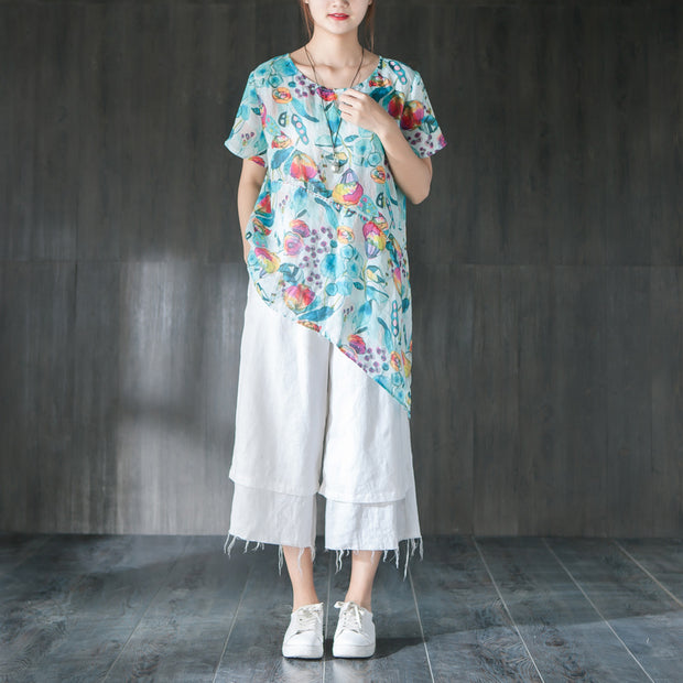 Linen Summer Printing Casual Blue Blouse