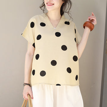 Linen V-Neck Dots Loose Literature T-shirt