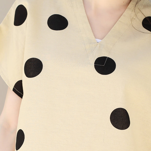 Linen V-Neck Dots Loose Literature Blouse