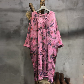 Linen V-neck Floral Casual Loose Autumn Holiday Dress