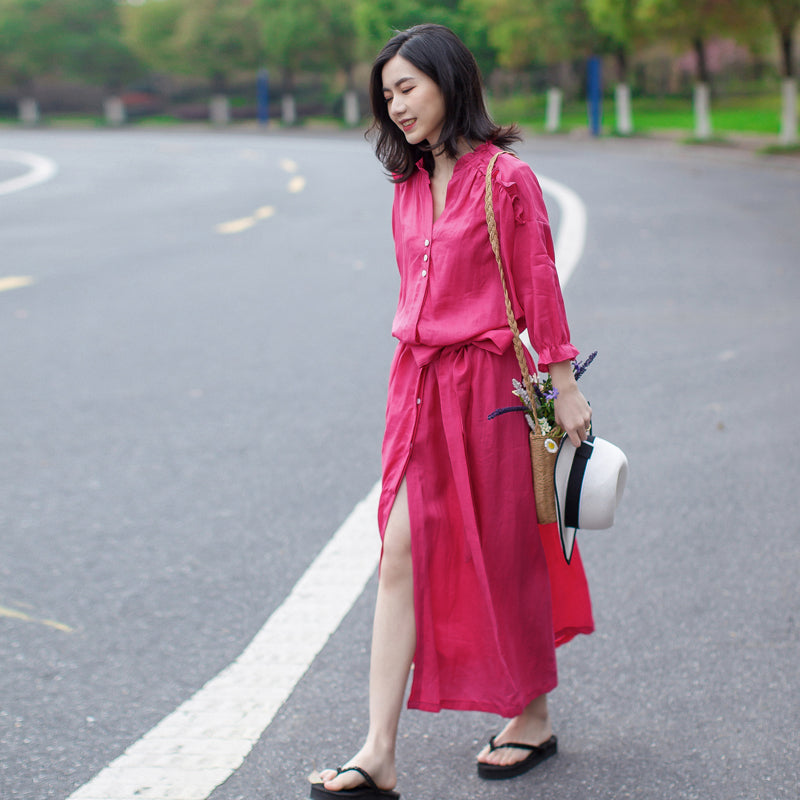 Linen Vintage Lace-Up Solid Women Dress
