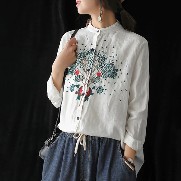 Linen Vintage Stand Collar Embroidery Shirt