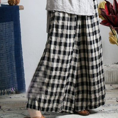 Linen Women Casual Loose Lattice Wide Leg Pants