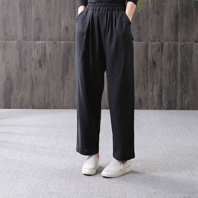 Linen Women Spring Black Straight Pants