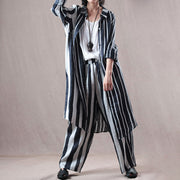 Linen Women Suit Stripes Shirt And Pants