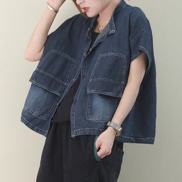 Literary Double Pocket Short Sleeve Denim Shirt