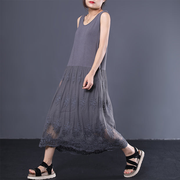 Literary Casual Lace Stitching Loose Sundress