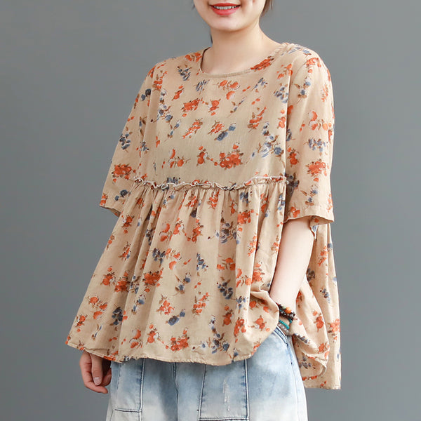 Literary Cotton Floral Spliced Three Quarter Sleeve T-shirt