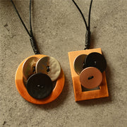 Literary Geometric Round Square Long Necklace