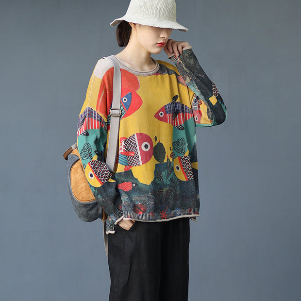Literary Printed Goldfish Autumn Knitted Shirt