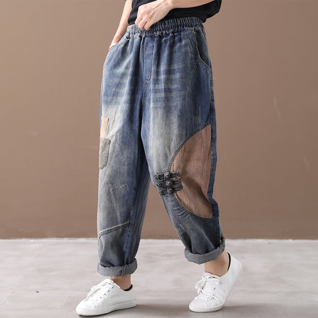 Literary Retro Patchwork Frayed Casual Jeans