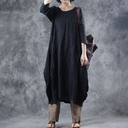 Literary Solid Color Three Quarter Sleeve Midi Dress