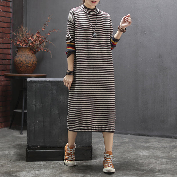 Literary Stripe Comfortable Half Turtleneck Dress