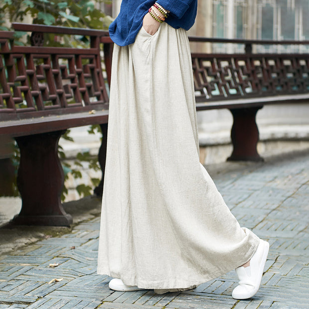 Literature Beige Baggy Linen Plus Size Pants
