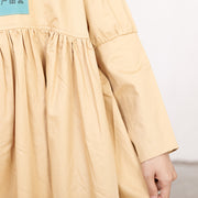 Literature Chic Printing Long Sleeves Splicing PLeated Women Dress