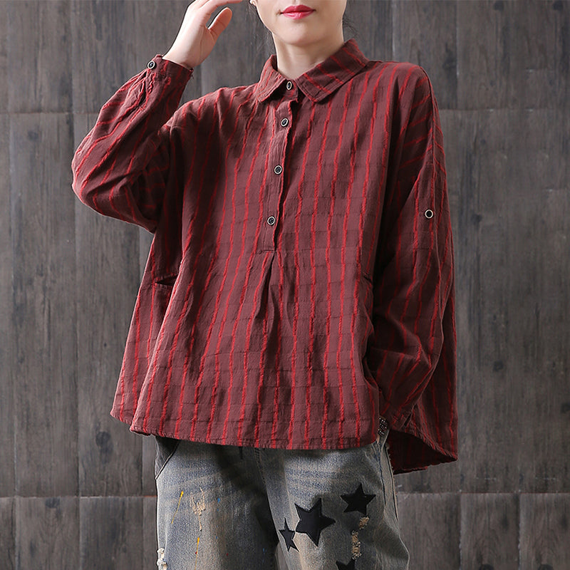 Buykud Hand-Made Literature Retro Stripe Cotton  Shirt