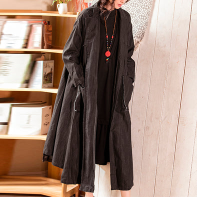 Literature Solid Black Cotton Long Women Coat