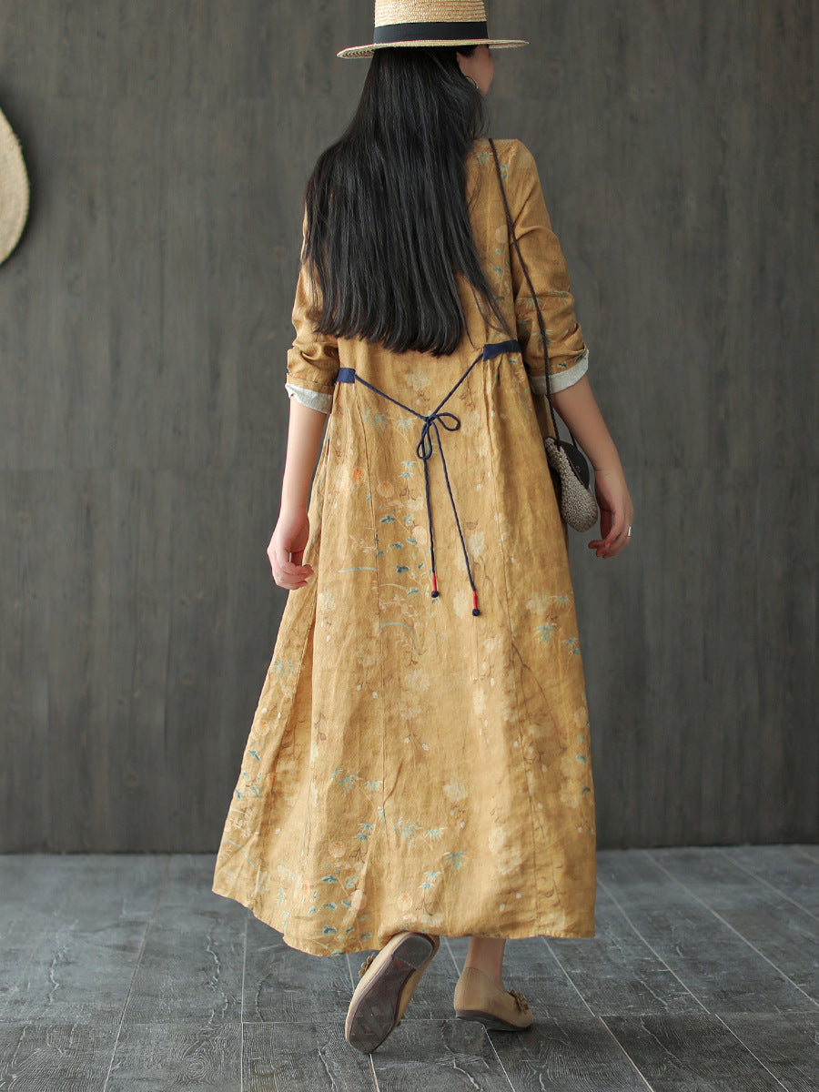 Long Sleeve Plant Prints Lacing Summer Linen Dress