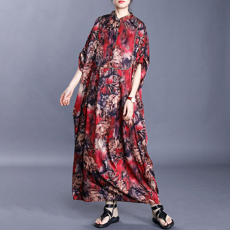 Long Sleeve Retro Floral Printed Cotton Red Dress