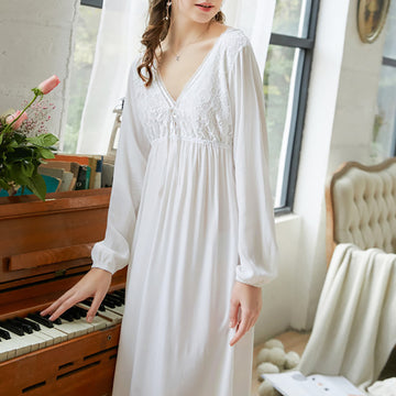 Long Sleeve Solid Color Lace Cotton Backless V-neck Nightdress