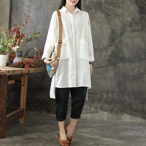 Long Large Pocket Solid Cotton Linen Female Shirt