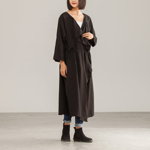 Long Linen Women Autumn Solid Ruffles Coat