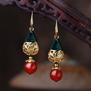 Long Pendant Gold Plated Agate Earrings