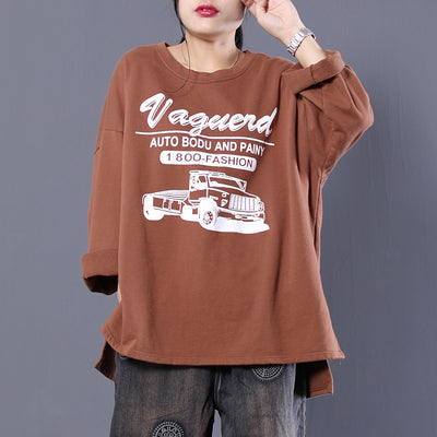 Long Sleeve Car Print Letter Cotton T-shirt
