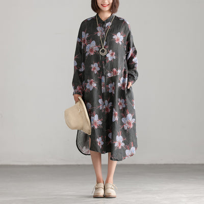 Long Sleeve Flower Printing Black Shirt Dress