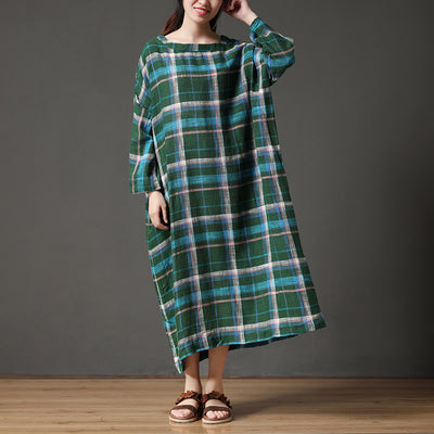 Long Sleeve Green Loose Printing Plaid Autumn Dress