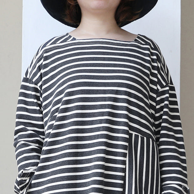 Long Sleeve Lacing Stripe Splitting Dress For Women