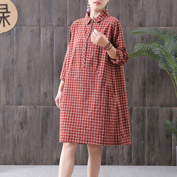 Long Sleeve Plaid Loose Casual Dress