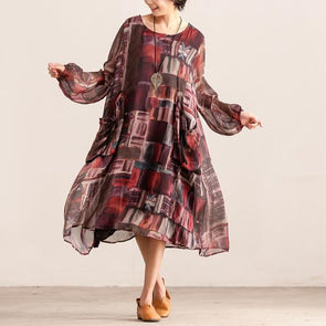 Long Sleeve Print Polyester Lining Dress