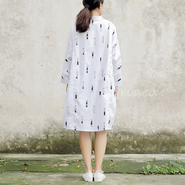 Long Sleeve Printed Polo Collar White Women Dress