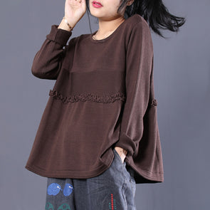 Long Sleeve Solid Knitting Cotton Women Top