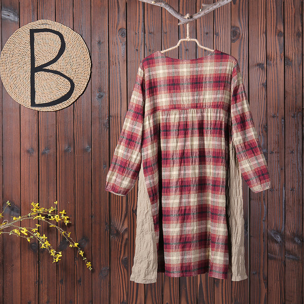 Long Sleeves Women Autumn Spring Plaid Dress