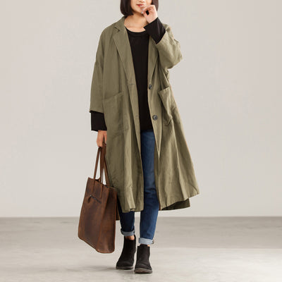 Long Solid Green Casual Cotton Linen Coat