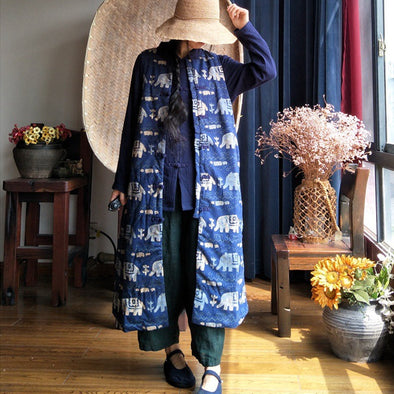 Long Vest Blue Women Elephant Sleeveless Coat
