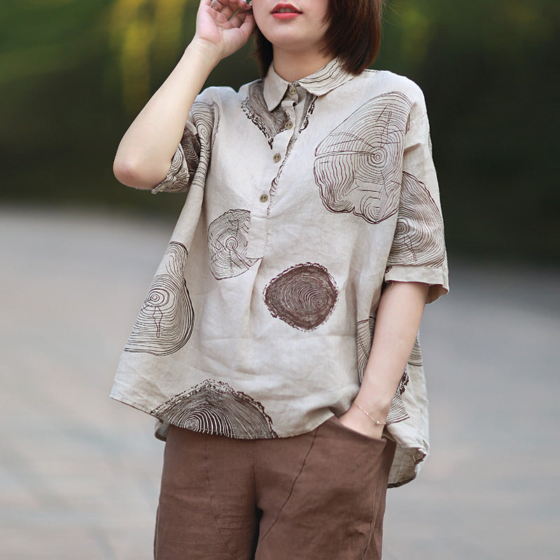 Loose Casual Print Dot Short Sleeve Blouse