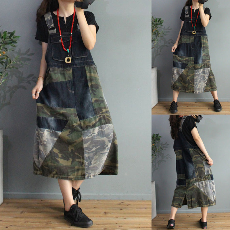 Loose Color Matching Denim Strap Dress