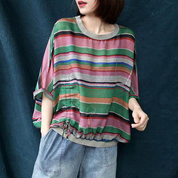 Loose Drawstring Colored Stripe Thin Cotton T-shirt