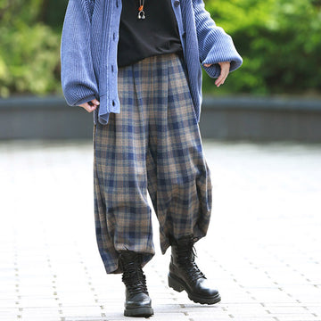 Loose Elastic Waist Pocket Plaid Pants