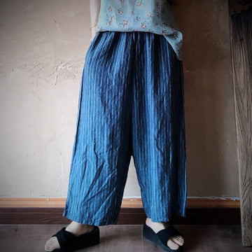 Loose Elastic Waist Striped 100% Linen Pants