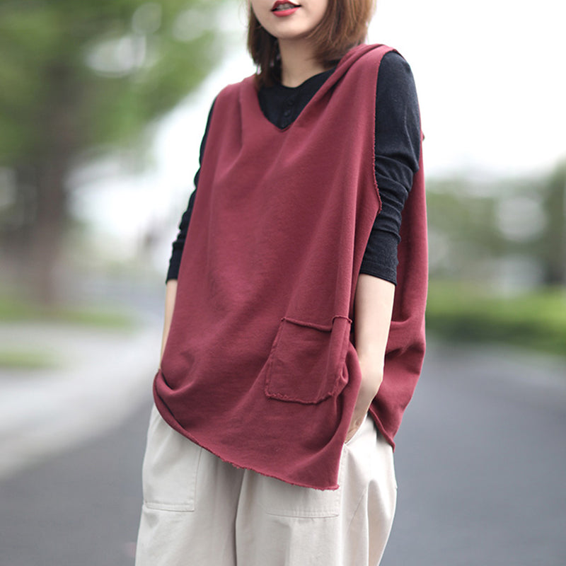 Plus Size - Irregular Pure Color Sleeveless Knitted Hoodie