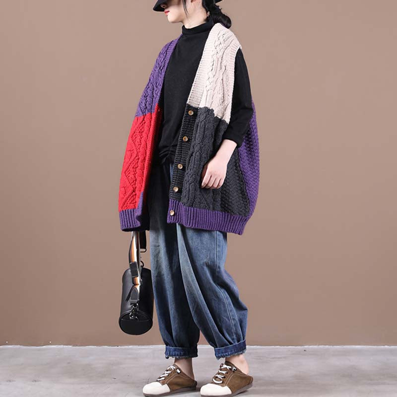 Loose Knitted Color Matching Vest Coat